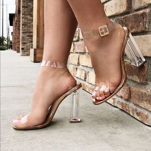 Rose Gold Glass Slipper Heels
